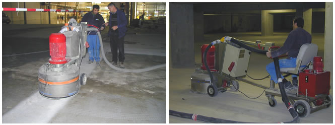 Large area concrete grinding