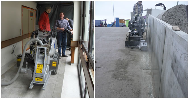 Milling concrete with small hybrid units